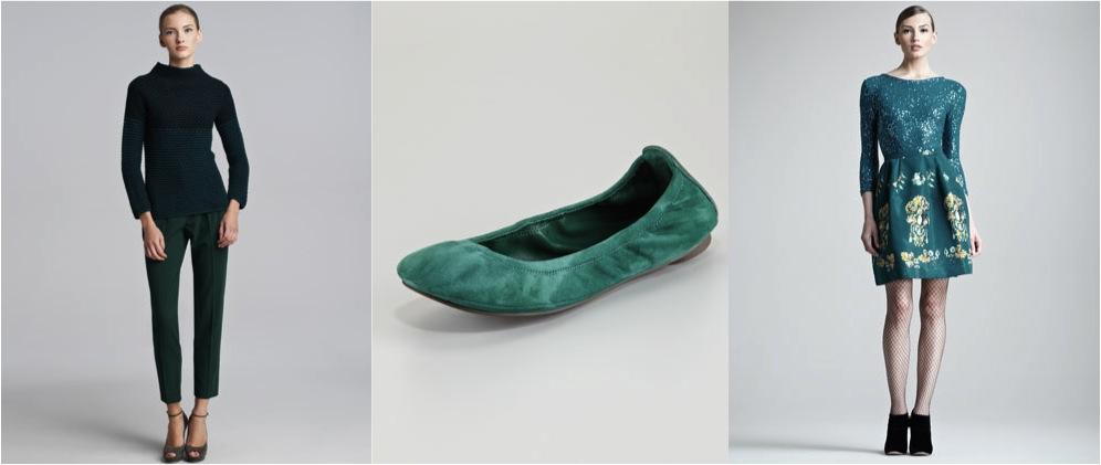 Одежда и замшевая обувь зеленого цвета и сочетание с другими цветами