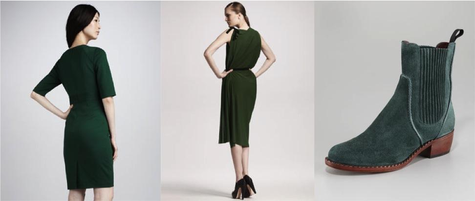 Зеленое платье и зеленая замшевая обувь