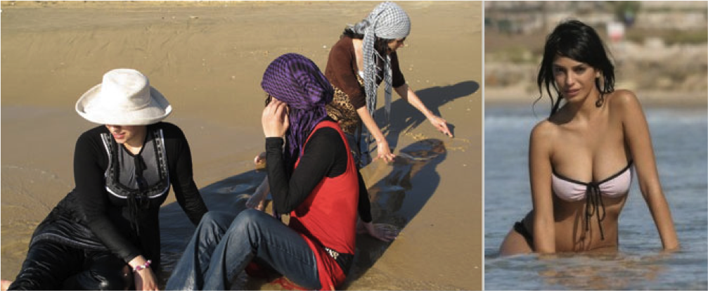 Израильские еврейские женщины на пляже